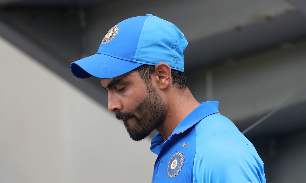 India's Ravindra Jadeja reacts after their loss in the Cricket World Cup semi-final match against New Zealand at Old Trafford in Manchester, England, Wednesday, July 10, 2019. (AP Photo/Aijaz Rahi)