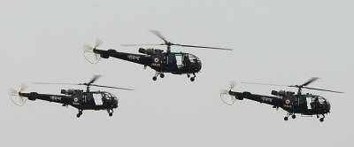 Fly past of Chetak Helicopters at the passing out parade of 82nd Helicopter pilot conversion course held at INS Rajali, Naval Air Station Arakkonam near Chennai on June 5, 2014.