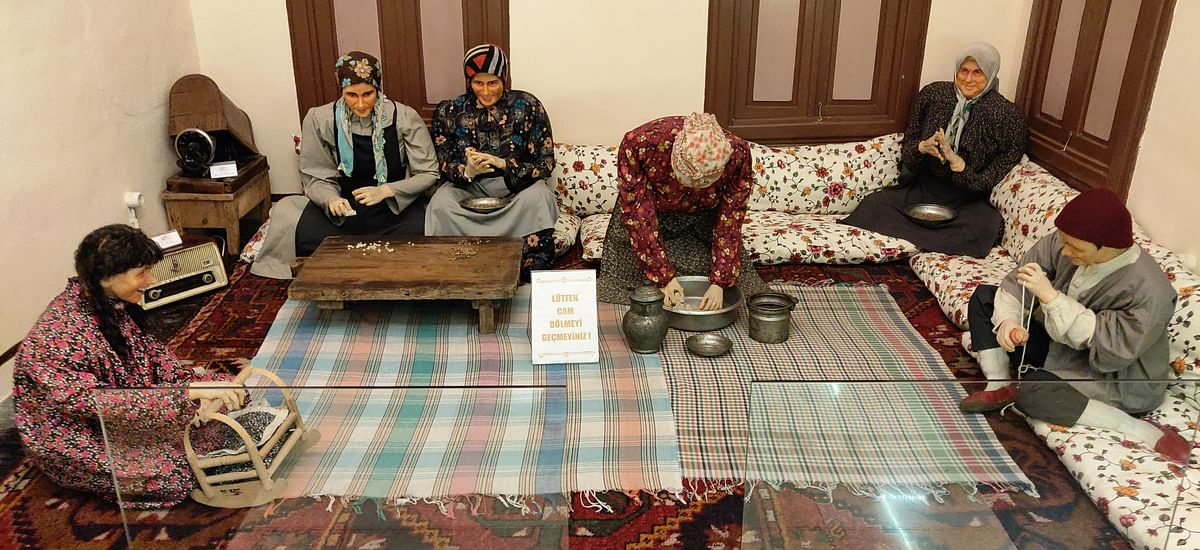Dioramas depicting familial bonding over food inside Emine Gogus, the culinary museum at Gaziantep