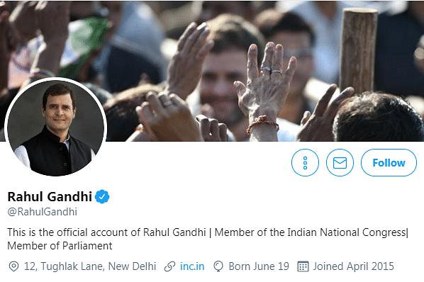 Screenshot of Rahul Gandhi's Twitter account.