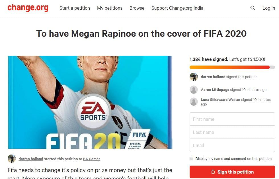 Screenshot of the petition to have Megan Rapinoe on the cover of FIFA 2020