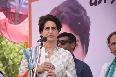 Unnao: Congress General Secretary (Uttar Pradesh East) Priyanka Gandhi Vadra during a public rally organised ahead of the 2019 Lok Sabha elections, in Uttar Pradesh