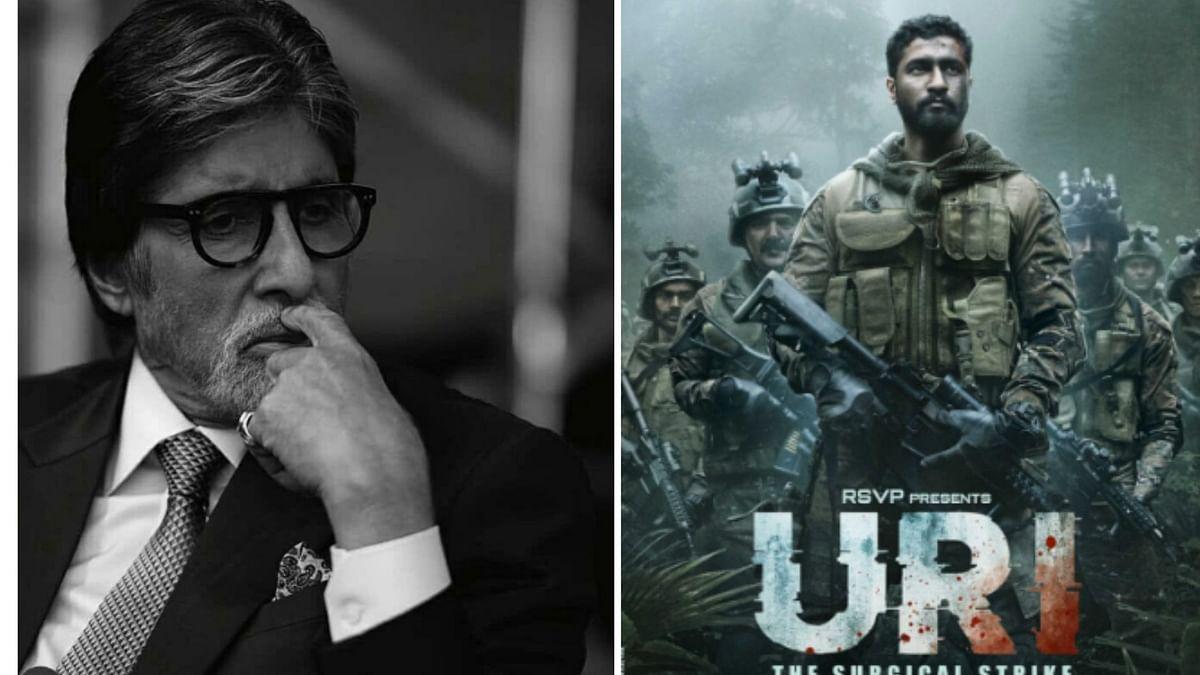 Amitabh Bachchan and poster of <i>Uri.</i>
