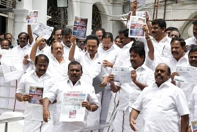 Chennai: DMK members led by MK Stalin walk out of the Tamil Nadu assembly to protest against the Speaker