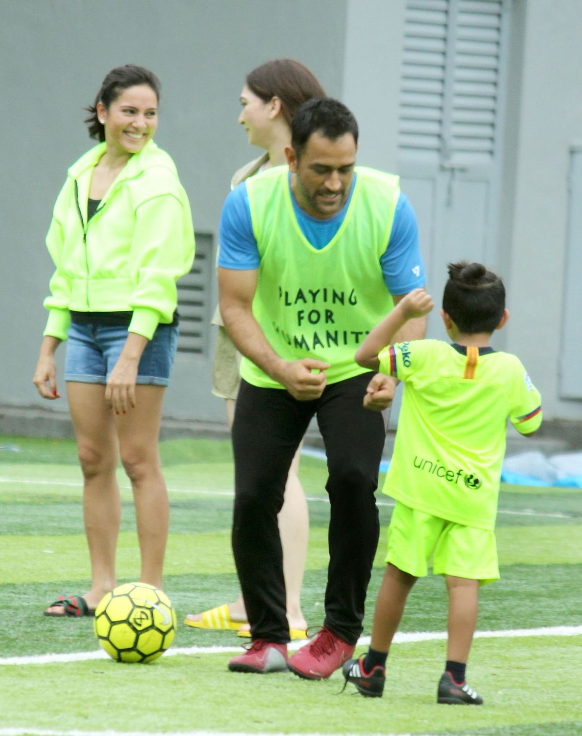 MS Dhoni during a football training session in Mumbai.