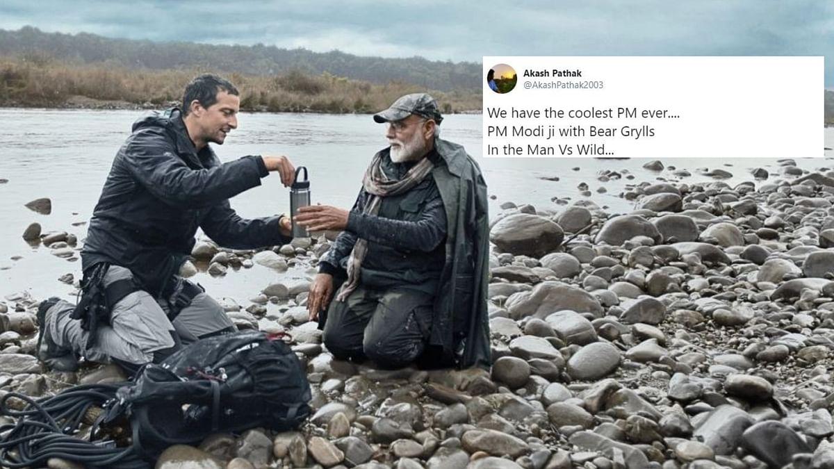 PM Modi with Bear Grylls.