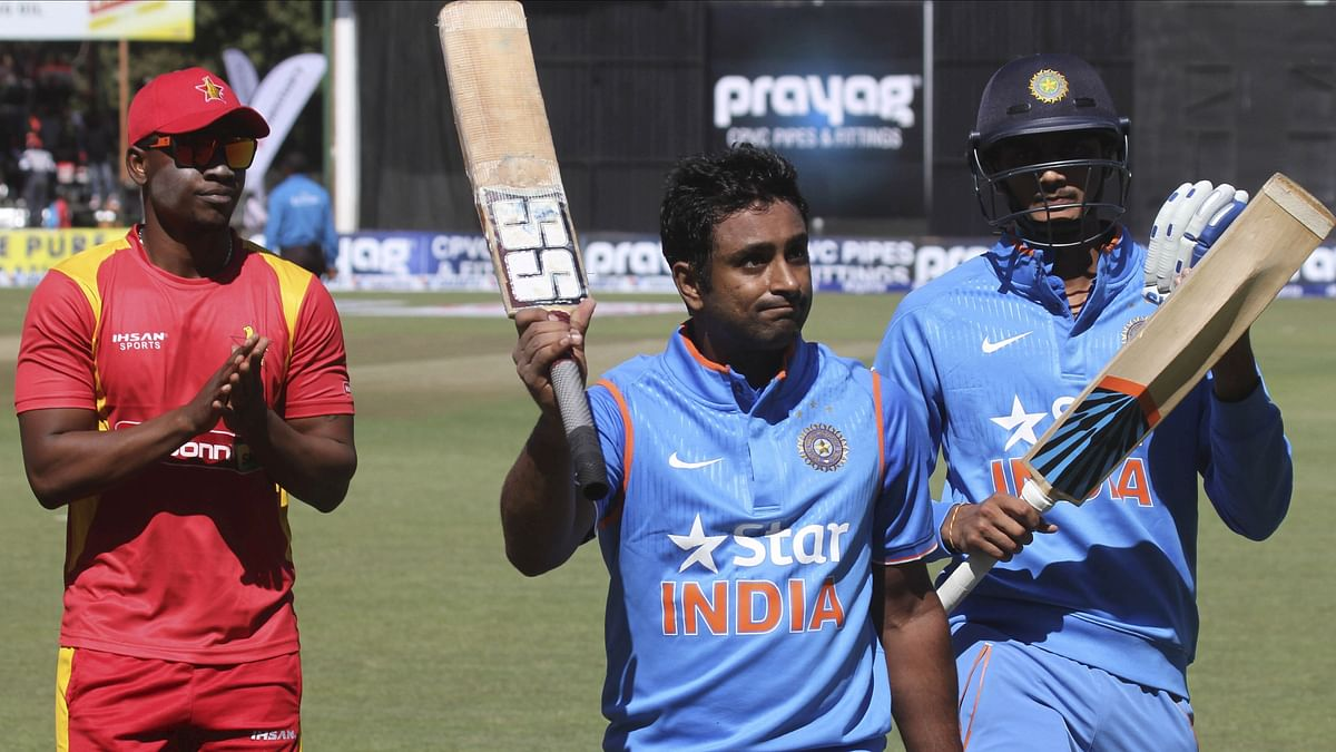 Ambati Rayudu acknowledges the crowd as he walks off the field after scoring a century  against Zimbabwe.