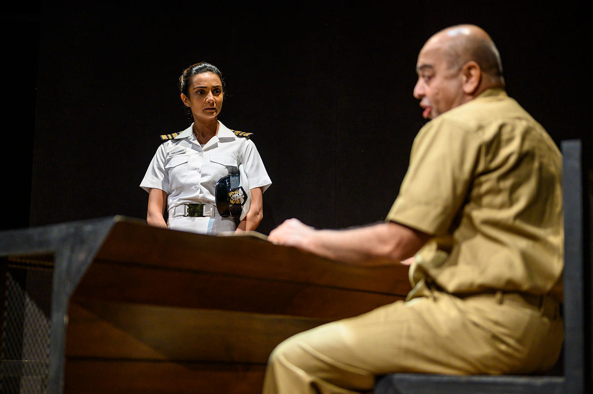 Ira Dubey and Kenny Desai in a scene from <i>A Few Good Men</i>.