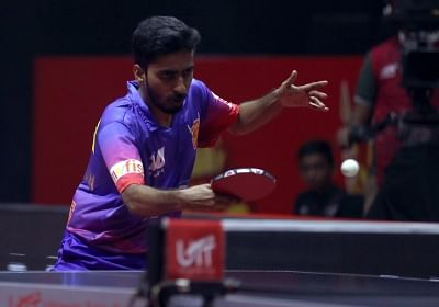 Sathiyan Gnanasekaran of Dabang Delhi T.T.C. in action