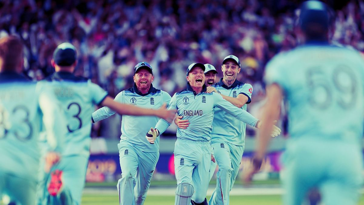 An ecstatic Jos Buttler after he ran out Martin Guptill in the Super Over to help England win the World Cup final.