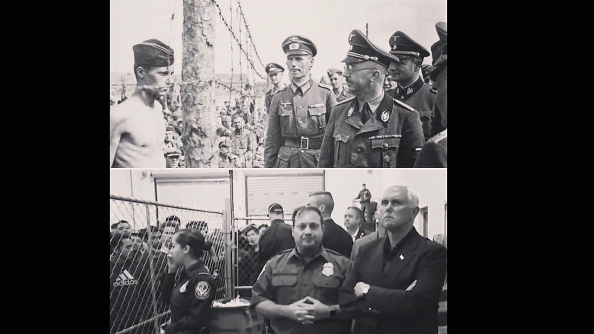 Photo of Heinrich Himmler next to a photo of US Vice President, Mike Pence
