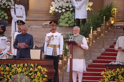 New Delhi: President Ram Nath Kovind administers the oath of office to Narendra Modi as the Prime Minister of India at a swearing-in ceremony at the Rashtrapati Bhavan in New Delhi on May 30, 2019. (Photo: Amlan Paliwal/IANS)