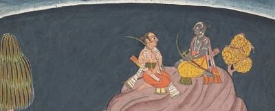 Rama and Lakshmana Search for Sita (detail), ca. 1690–1710. From the dispersed Shangri Ramayana (Style II), India, Punjab Hills, kingdom of Jammu (Bahu). Ink, opaque watercolor, and silver on paper. The Metropolitan Museum of Art, New York, Purchase, Cynthia Hazen Polsky Gift, 1999 (1999.400). (Photo Source: Courtesy The Metropolitan Museum of Art)