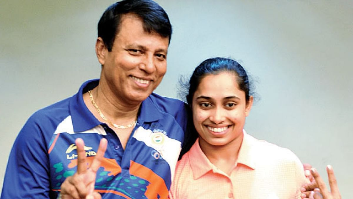 File picture of Dipa Karmakar with her coach Bisweswar Nandi.