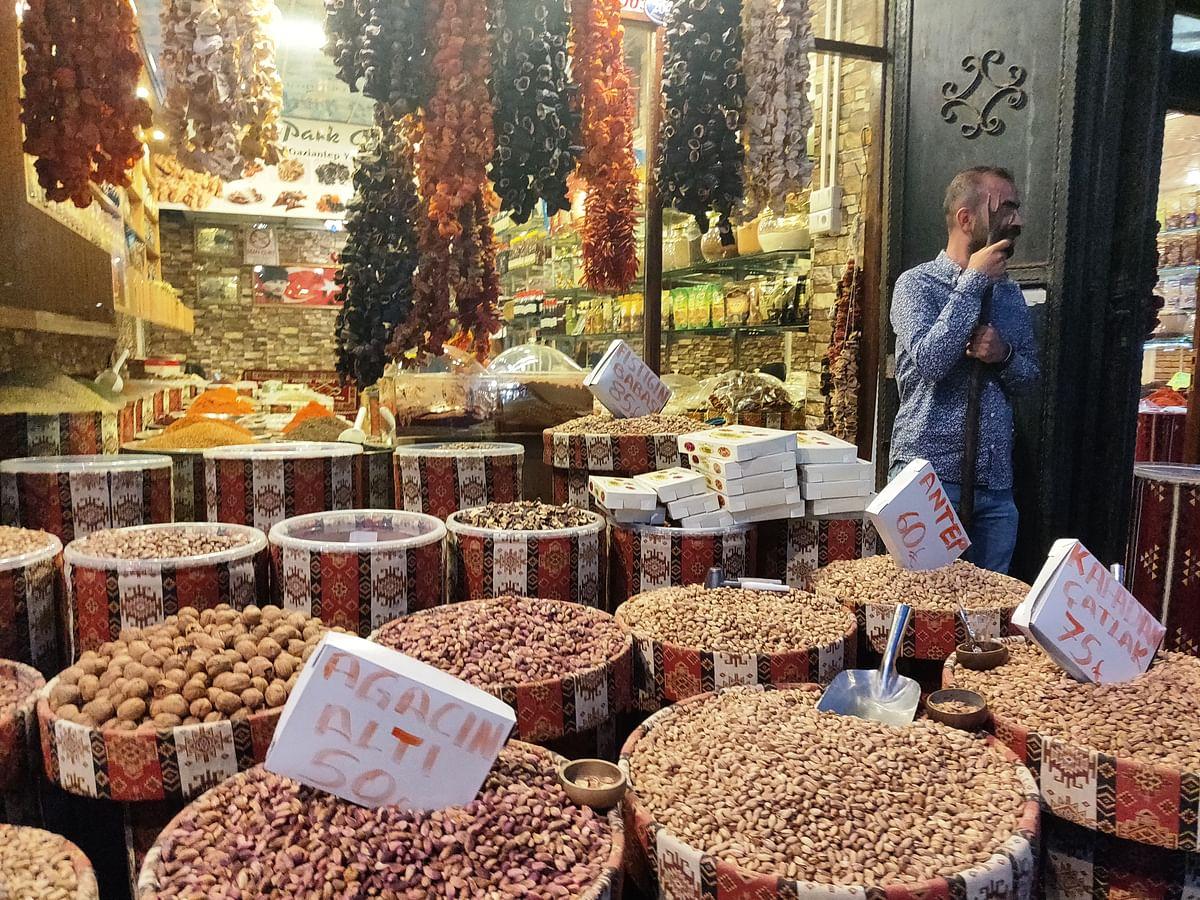 A spice and pistachio store in Gaziantep.