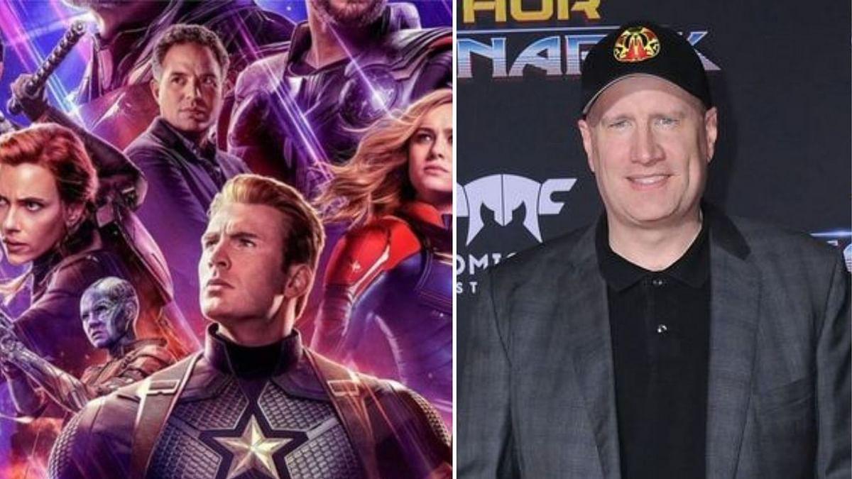 A poster of <i>Avengers Endgame</i>; Marvel boss Kevin Feige.