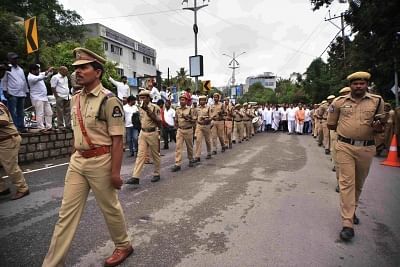 Hyderabad: Heavy security deployed during the funeral of Former Union Minister and party leader from Telangana, S. Jaipal Reddy in Hyderabad on July 29, 2019. (Photo: IANS)