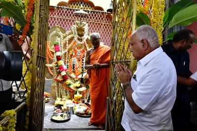Kunigal: Karnataka Chief Minister B.S. Yediyurappa offers prayers at the Sri Siddalingeshwara Temple in Karnataka