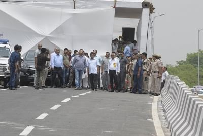 New Delhi: Delhi Chief Minister Arvind Kejriwal and Public Works Department Minister Satyendra Kumar Jain arrive to inaugurate the newly constructed Rao Tula Ram (RTR) Flyover at Outer Ring Road near Munirka in New Delhi, on July 16, 2019. (Photo: IANS)