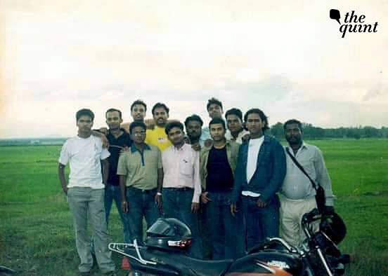 Young MS Dhoni (second from right) with his friends.