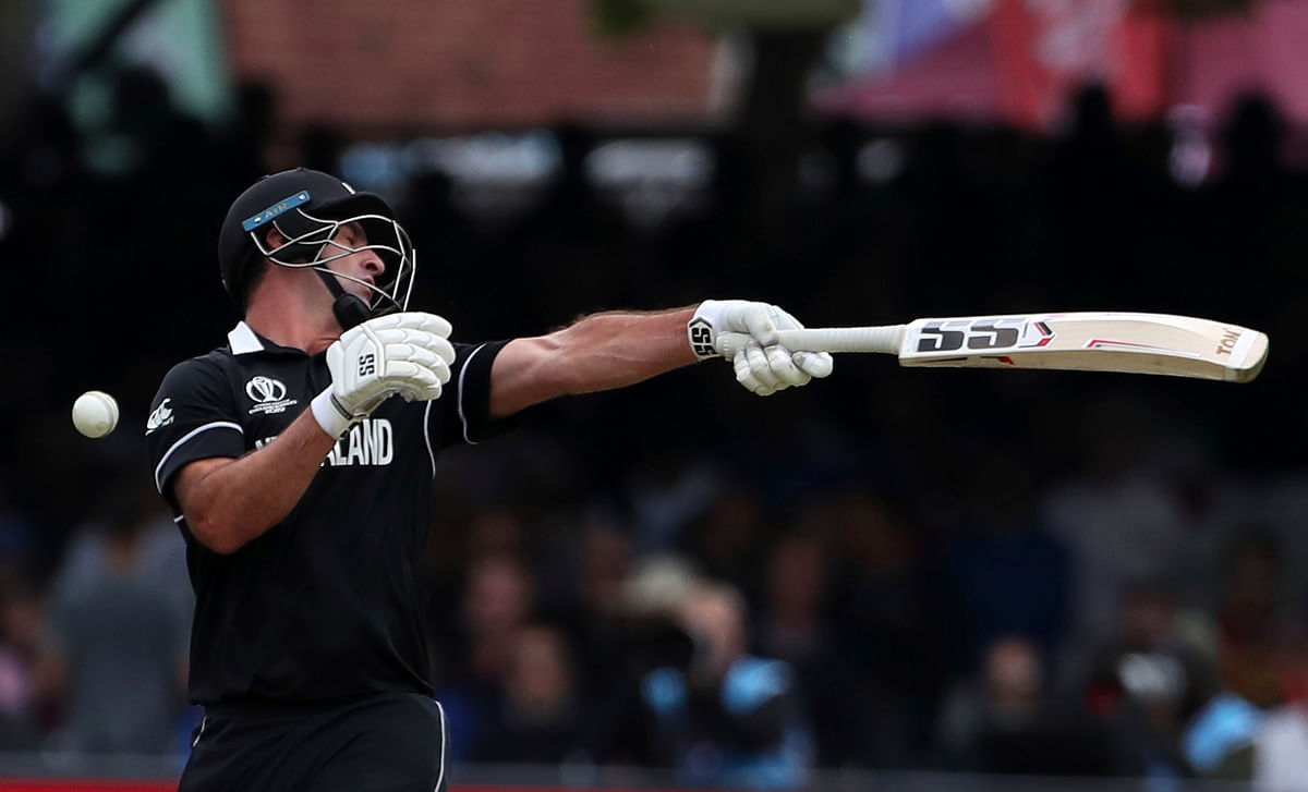 New Zealand's Colin de Grandhomme attempts to play a shot during the Cricket World Cup final match between England and New Zealand.