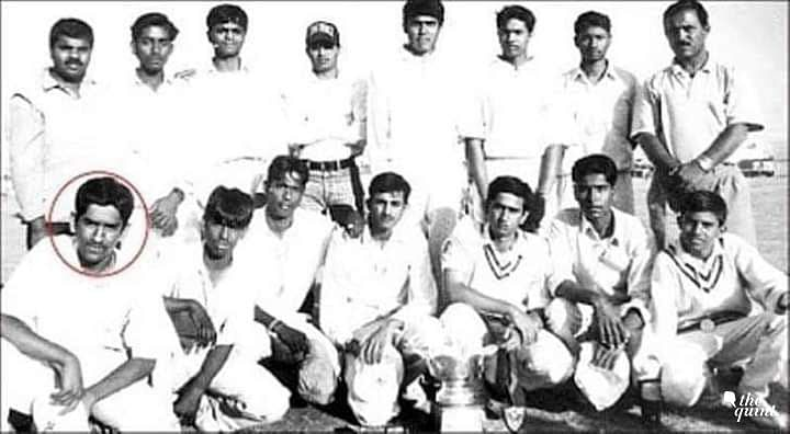 Mahendra Singh Dhoni with his school team after winning a tournament.