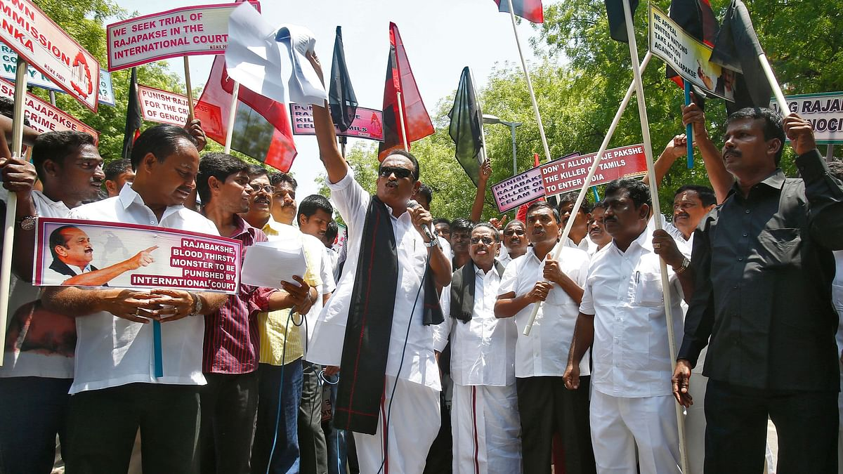 MDMK Chief Vaiko and his supporters were detained by the Delhi police during protests against the visit of Sri Lankan President Gotabaya Rajapaksa.File photo.