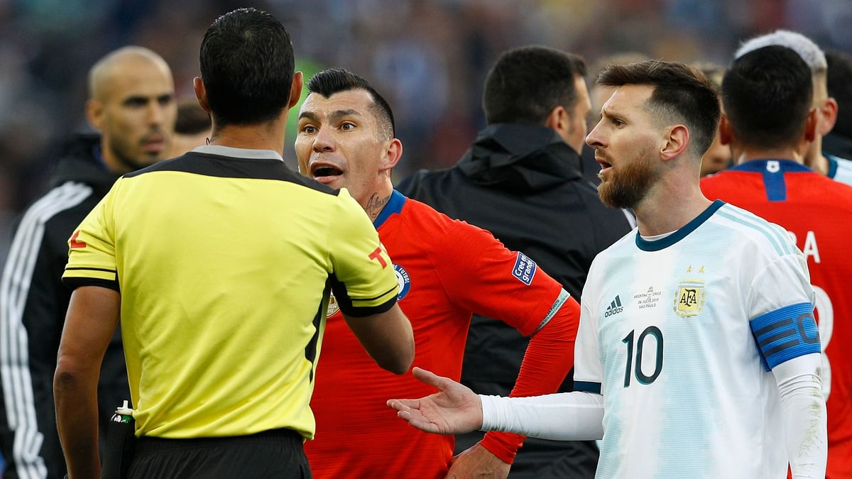 Messi was red carded after getting into a first-half shoving match with Chile midfielder Gary Medel, who also was ejected.