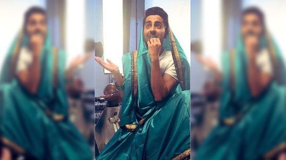 Ayushmann Khurrana sports a saree for his upcoming film <i>Dream Girl</i>.