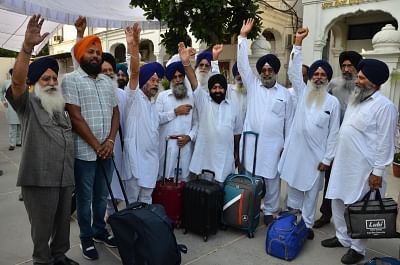 Amritsar: Sikh devotees all set to leave for Pakistan to participate in 550th birth anniversary celebrations of Guru Nanak Dev, from Amritsar on July 30, 2019. (Photo: IANS)