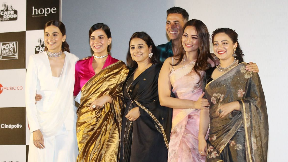 Cast of <i>Mission Mangal</i> at the trailer launch of the film.
