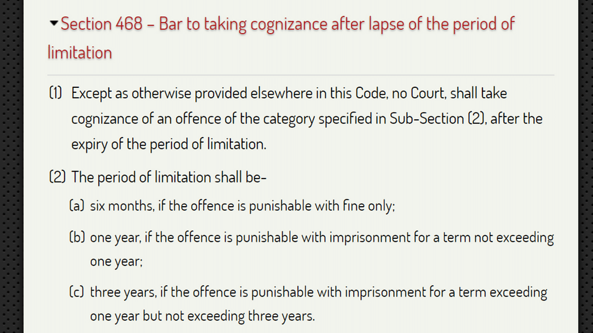 Section 468 of the CrPC lays down the statute of limitations for reporting of various offences.