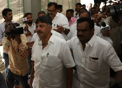 Bengaluru: Karnataka Cabinet Minister D.K. Shivakumar arrives at the state assembly to meet the rebel MLAs of Congress and JD-S who had reached there to submit their resignations to the Assembly Speaker, in Bengaluru on July 6, 2019. (Photo: IANS)