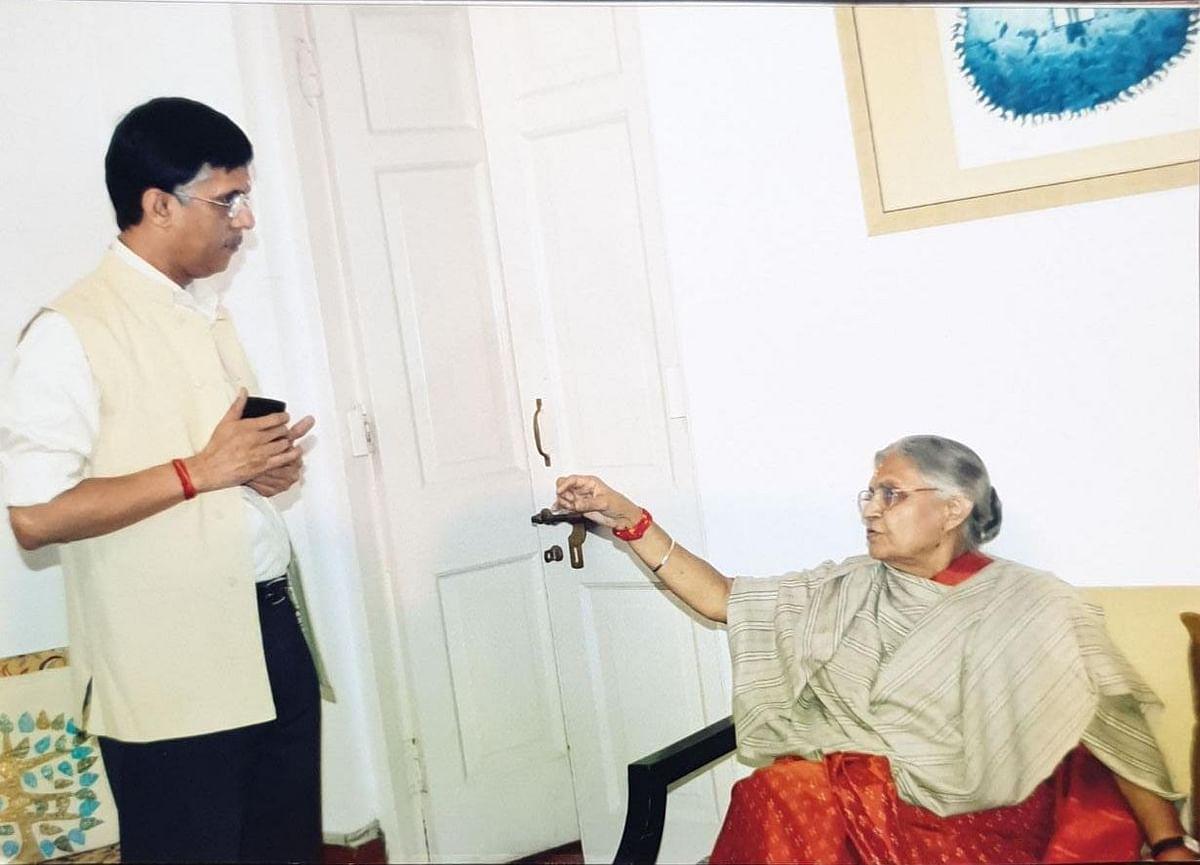 Sheila Dikshit with Pawan Khera