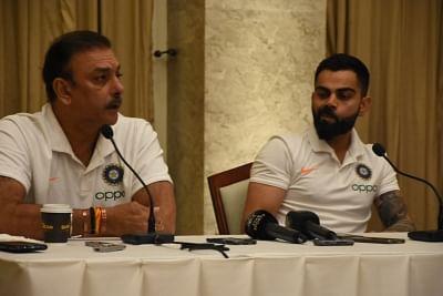 Mumbai: Indian Cricket Head coach Ravi Shastri and captain Virat Kohli address a press conference, in Mumbai on July 29, 2019. (Photo: IANS)