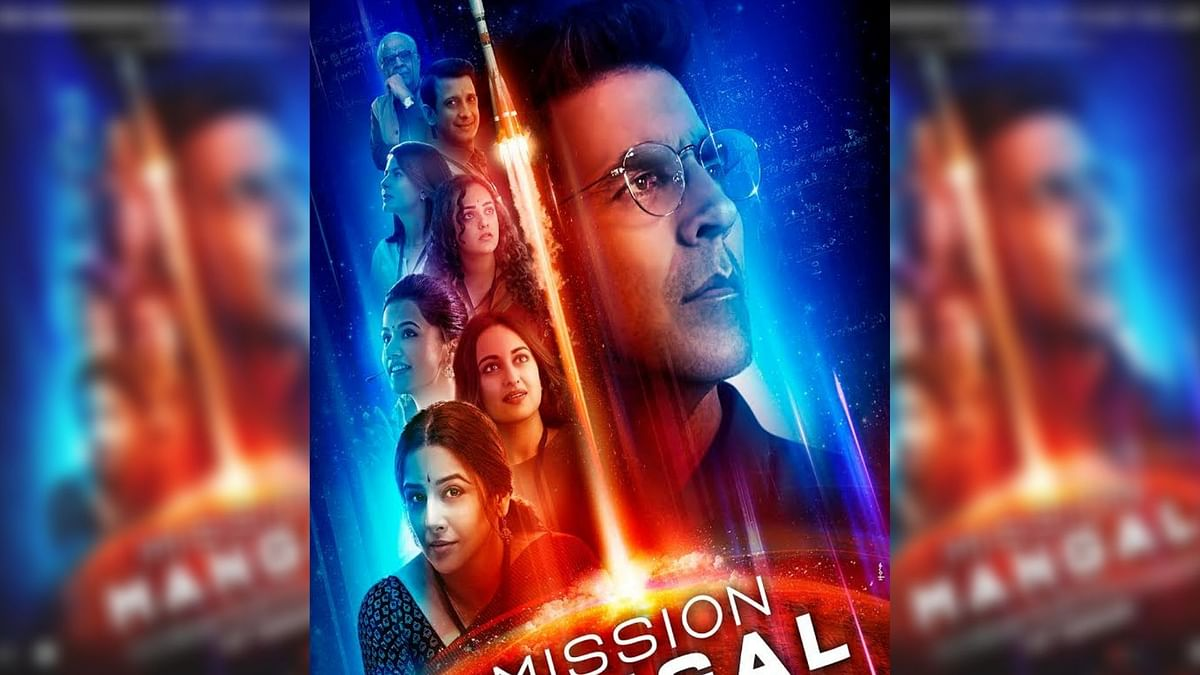 A poster for <i>Mission Mangal</i>, which stars Akshay Kumar, Taapsee Pannu, Vidya Balan and Sonakshi Sinha.