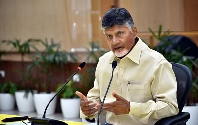 Former Andhra Pradesh Chief Minister N. Chandrababu Naidu addresses a press conference, in Vijayawada, on May 5, 2019. (Photo: IANS)