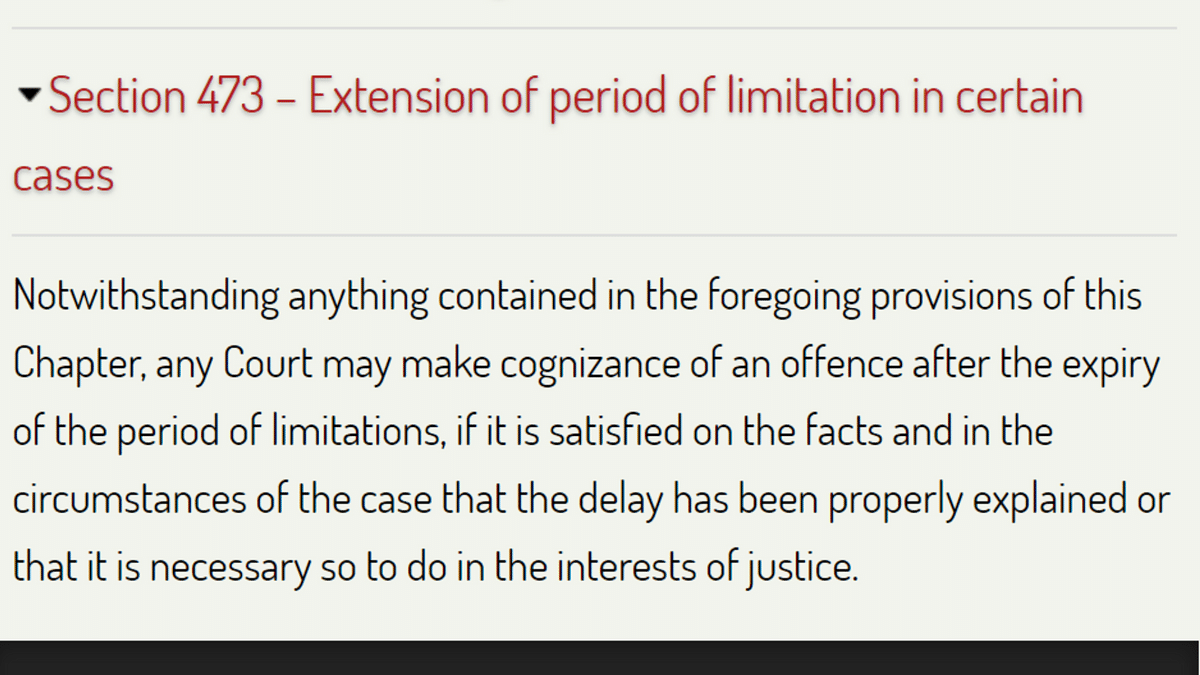 Section 473 of the CrPC deals with the extension of period of limitations.