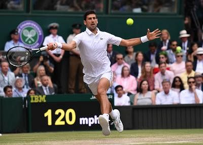 LONDON, July 14, 2019 (Xinhua) -- Novak Djokovic of Serbia competes during the men