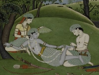 Rama, Sita and Lakshmana Begin their Life in the Forest. India, Punjab Hills, kingdom of Kangra, ca. 1800–1810. Opaque watercolor, gold and silver on paper. Promised Gift of Steven Kossak, The Kronos Collections. (Photo Source: Courtesy The Metropolitan Museum of Art)