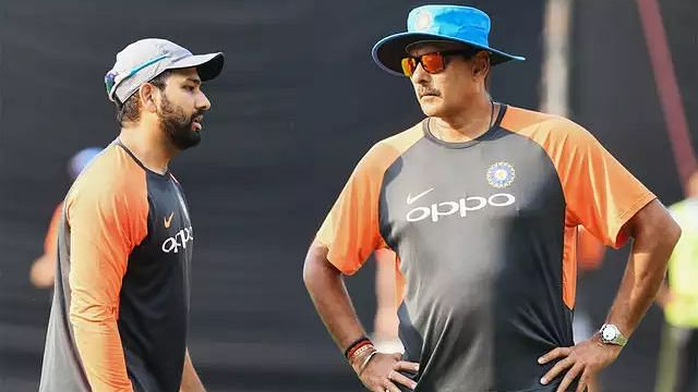 Ravi Shastri and Rohit Sharma at a training session.