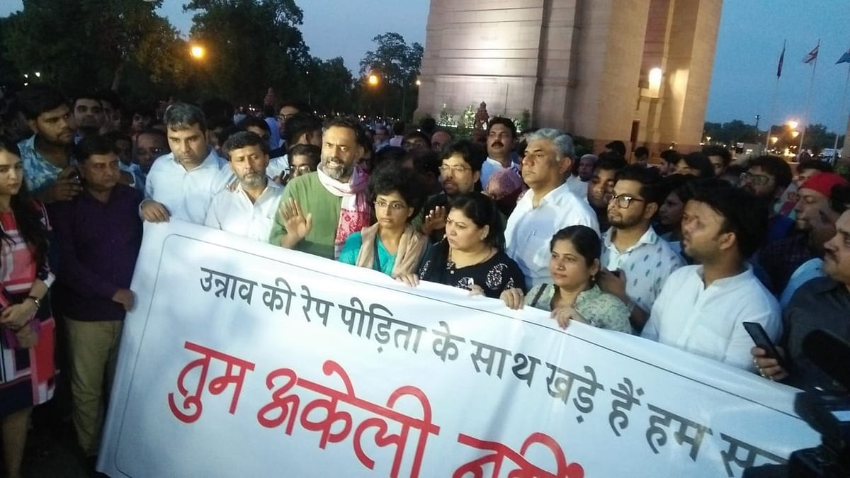 Protest in solidarity with the Unnao rape victim at India Gate.