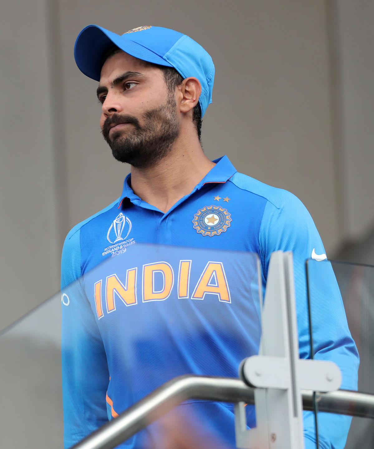 India's Ravindra Jadeja reacts after their loss in the Cricket World Cup semi-final match against New Zealand at Old Trafford in Manchester, England, Wednesday, July 10, 2019.