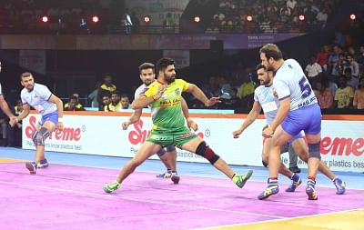 Mumbai: Players in action during a Pro Kabaddi League Season 7 match between Tamil Thalaivas and Patna Pirates at National Sports Club of India (NSCI) in Mumbai on July 29, 2019. (Photo: IANS)