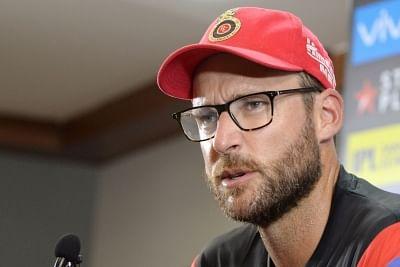 Bengaluru: Royal Challengers Bangalore head coach Daniel Vettori addresses a press conference, in Bengaluru on April 12, 2018. (Photo: IANS)