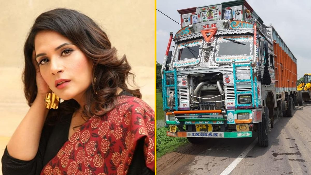 Richa Chadha (L), the truck that smashed into the Unnao rape survivor's vehicle (R).