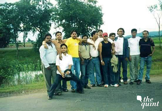 A young MS Dhoni (third from right) with his friends.