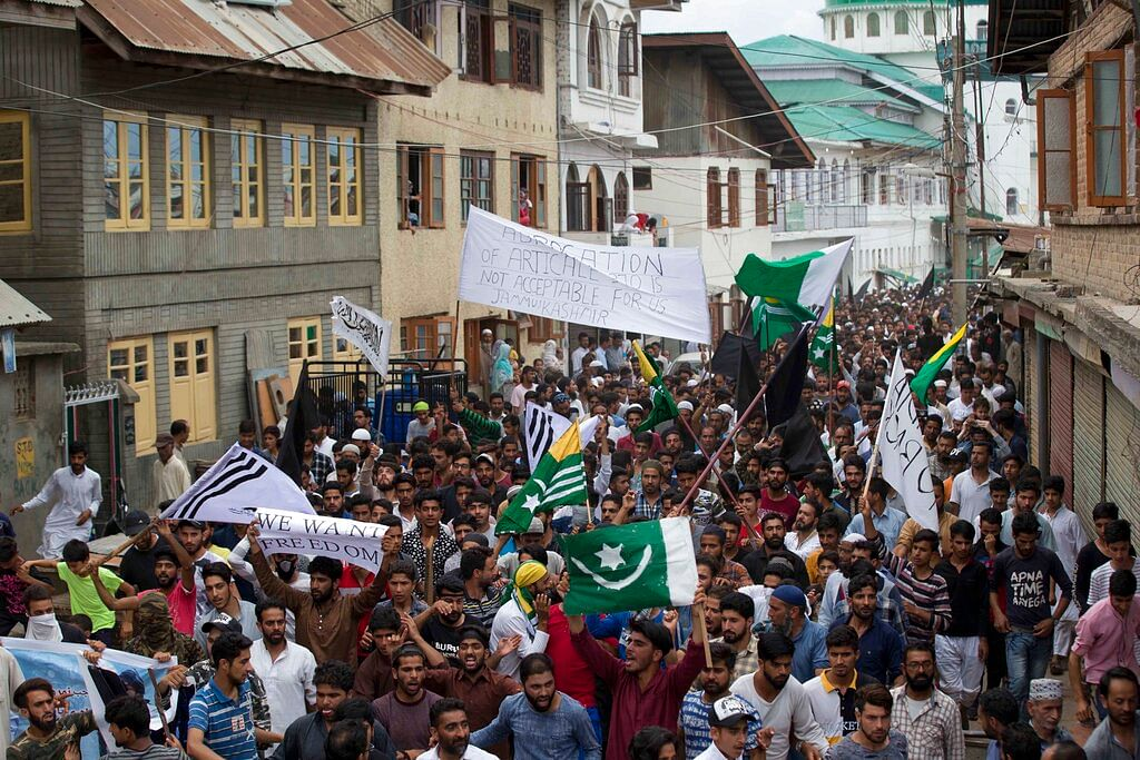 Kashmiris protest in downtown Srinagar on Friday