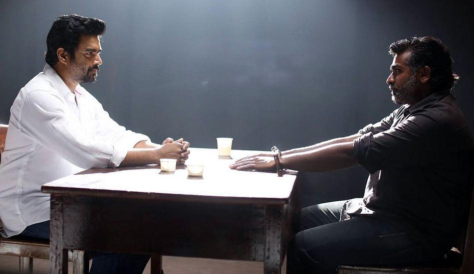 R Madhavan and Vijay Sethupathi in <i>Vikram Vedha.</i>