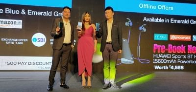 New Delhi: Huawei India Country Manager, Consumer Business Group Tornado Pan and Huawei Vice-President and Huawei India Consumer Business Group Rishi Kishor Gupta unveil Huawei Y9 Prime 2019 smartphones, in New Delhi on Aug 1, 2019. (Photo: IANS)